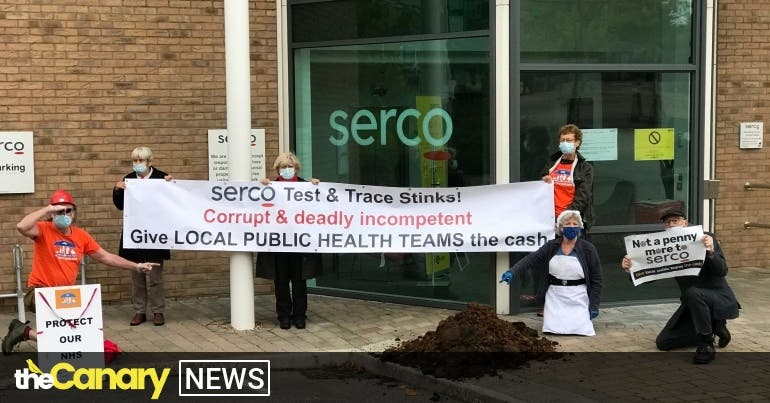 Protesters dump horse sh*t on Serco's doorstep