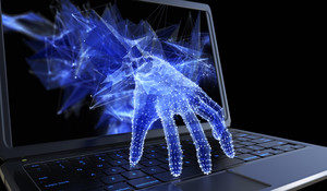 Digital hand coming out of the laptop