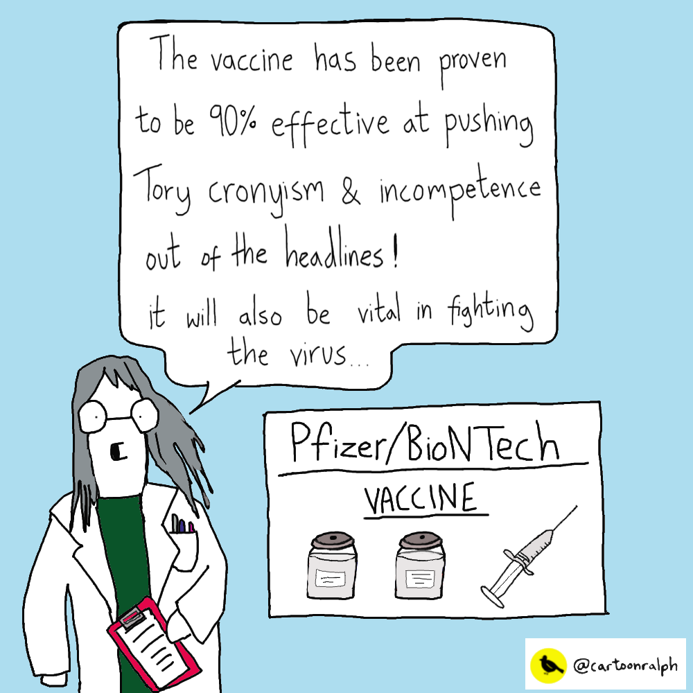 Vaccine 90% effective at pushing Tory coronyism from the headlines