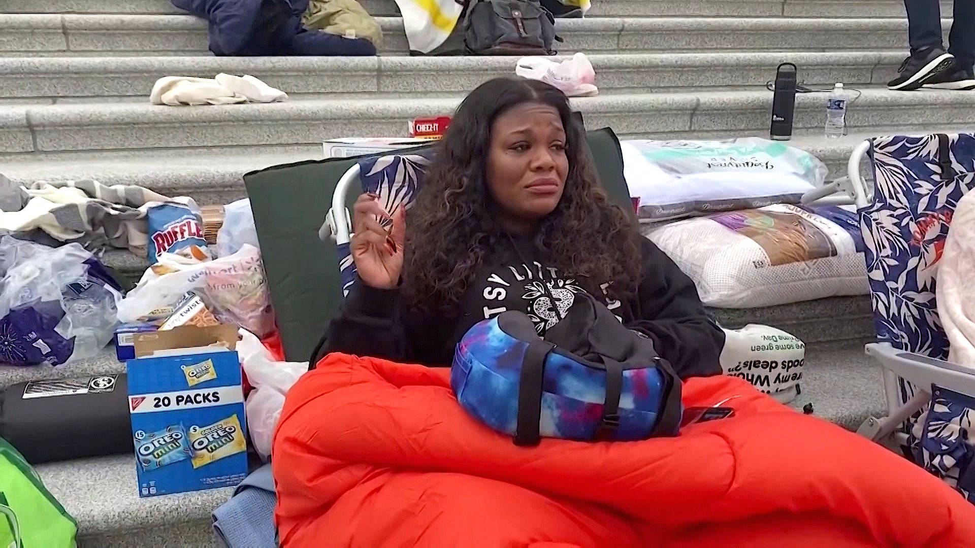 """Read more about the article """"Give Us the Moratorium"""": Rep. Cori Bush Sleeps on Capitol Steps Demanding Eviction Protection"""
