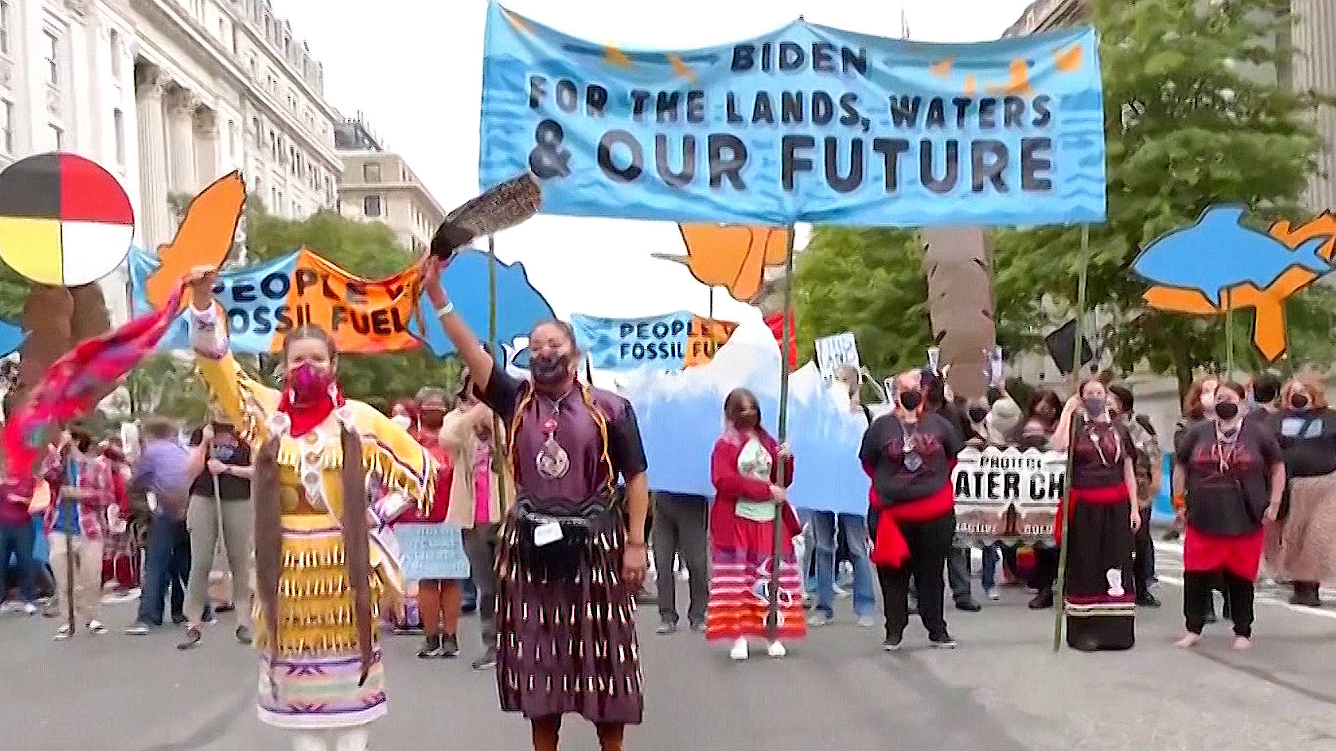 """Read more about the article """"People vs. Fossil Fuels"""": Over 530 Arrested in Historic Indigenous-Led Climate Protests in D.C."""